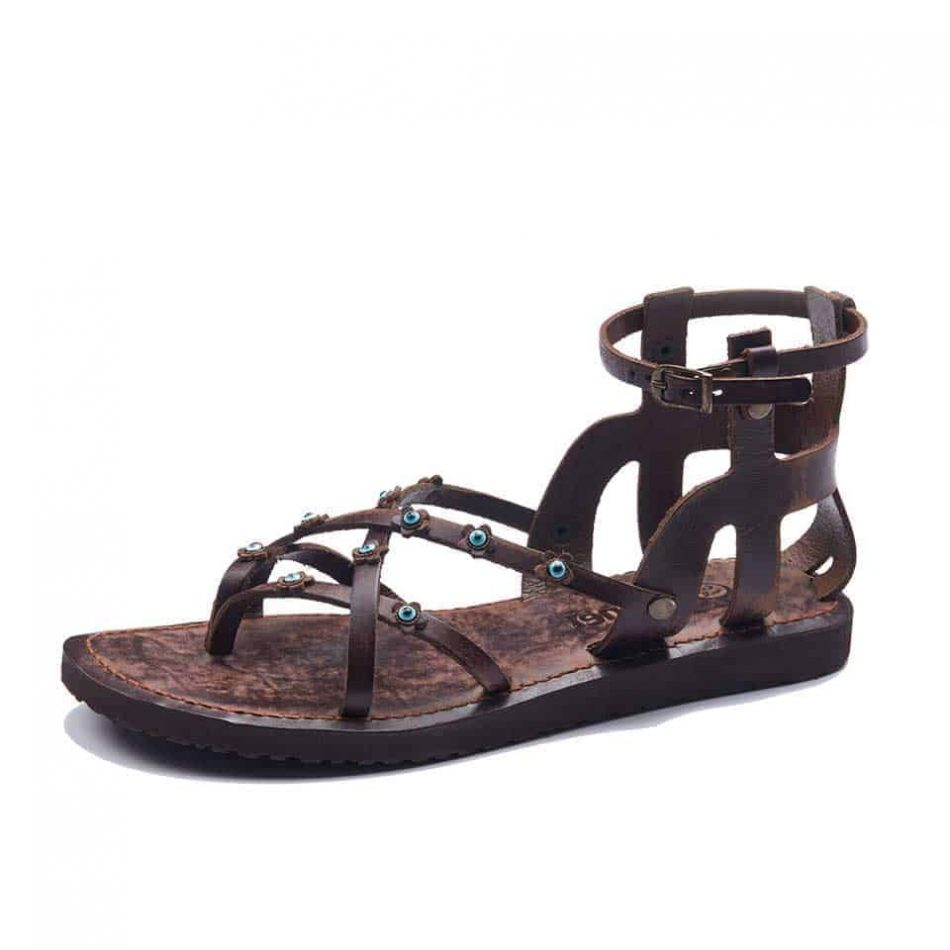 Brown Ankle Straps Sandals For Womens