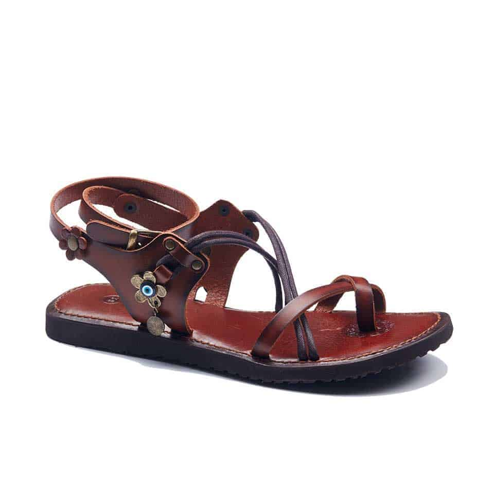 af9b70bd2ea6ac Handmade Leather Ankle Wrap Womens Sandals - Snuff Colored