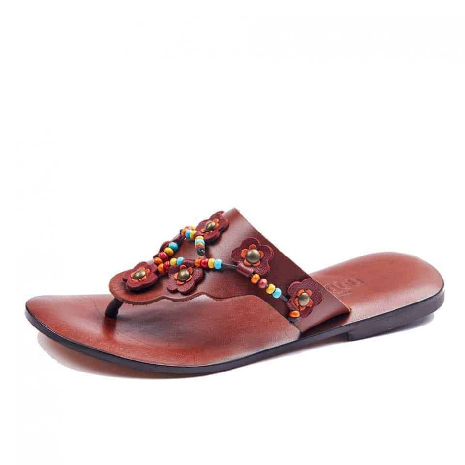 Flip Flops Leather Thong Sandals For Womens