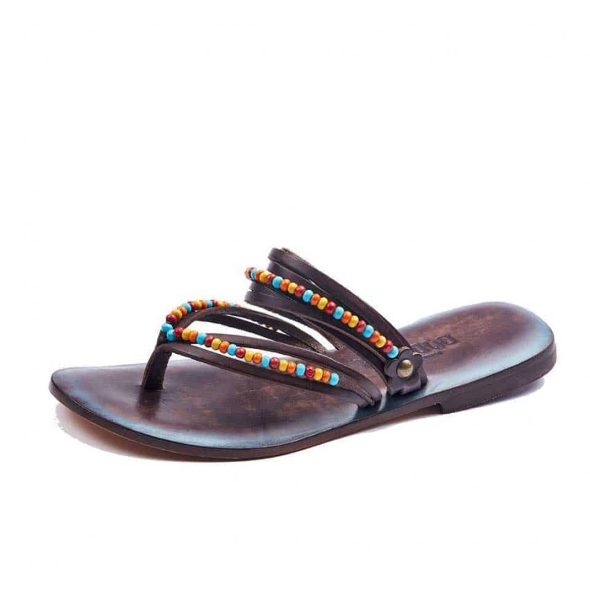 Black Flip Flops Leather Thong Sandals For Womens