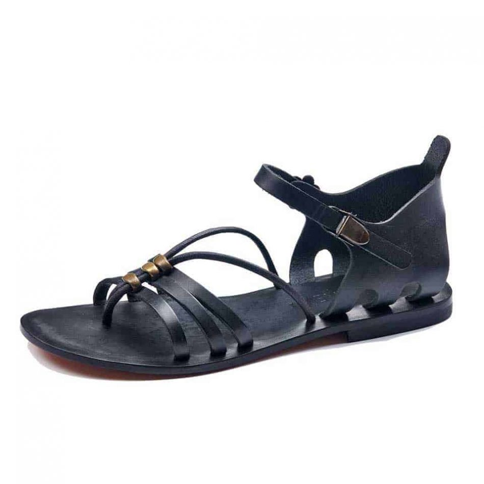 Black and Brown Leather Toe Loop Flat Sandals For Womens