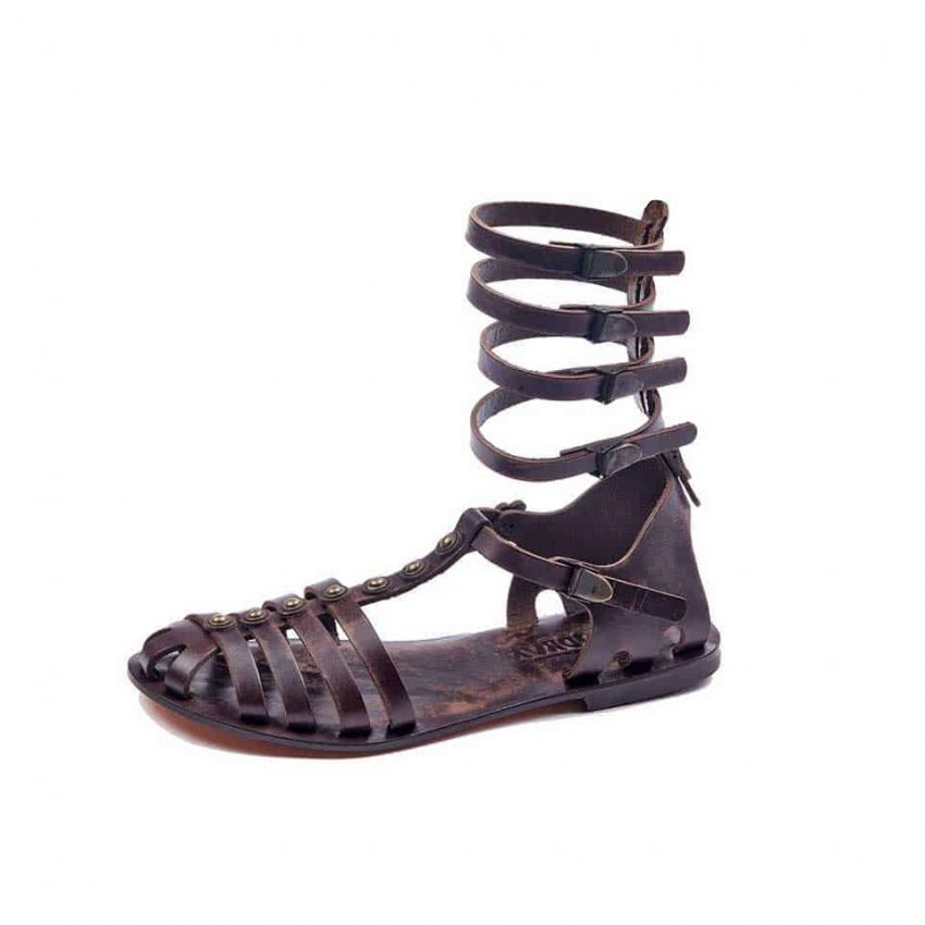 handmade leather gladiator strappy brown women sandals cheap comfortable cute-sandals