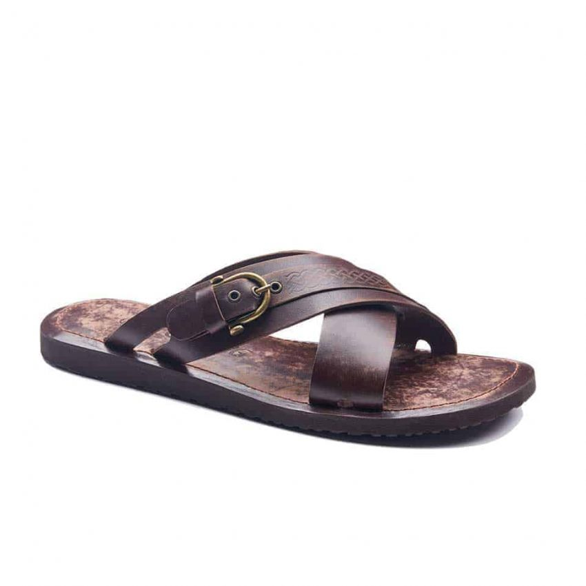 handmade leather mens sandals 1939 2 850x850 - Handmade Mens Leather Slide Open Toe Buckle Sandals