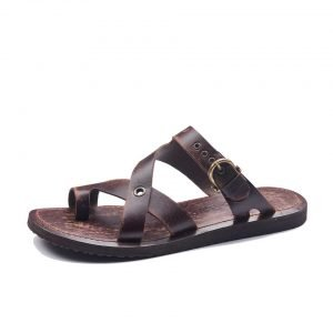 544ce93e29aa Handmade Mens Leather Slide Sandals- Open Toe Buckle Nice Sandals.