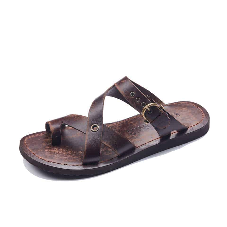 2e7e9b63eda5 Handmade Mens Leather Slide Slippers - Stylish Casual Cheap Sandals.