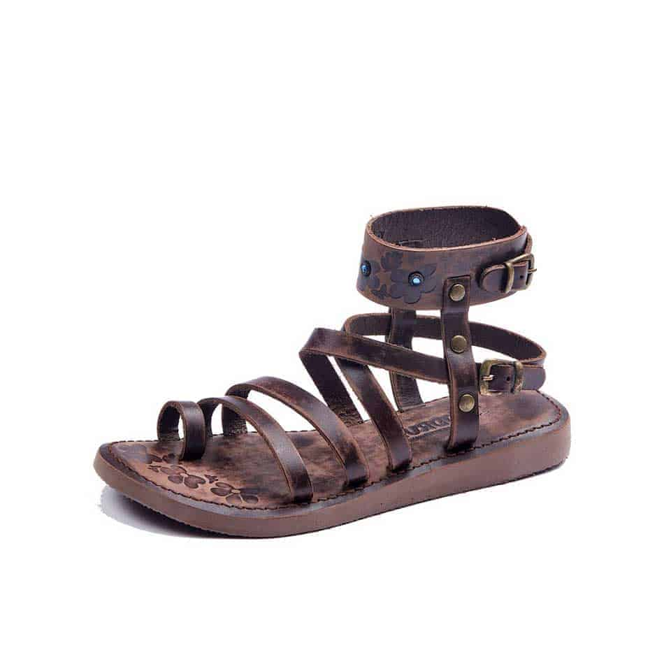 46931f15075276 Womens Leather Sandals - Ankle Wrap Brown Strappy - Handmade