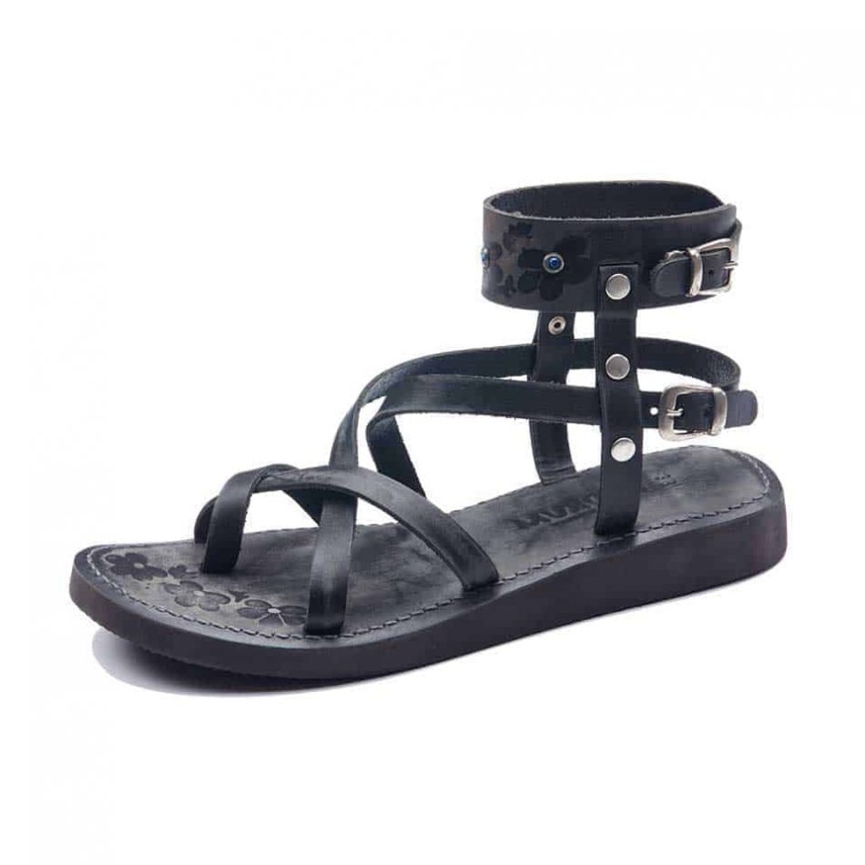 Leather Ankle Wrap Sandals For Womens