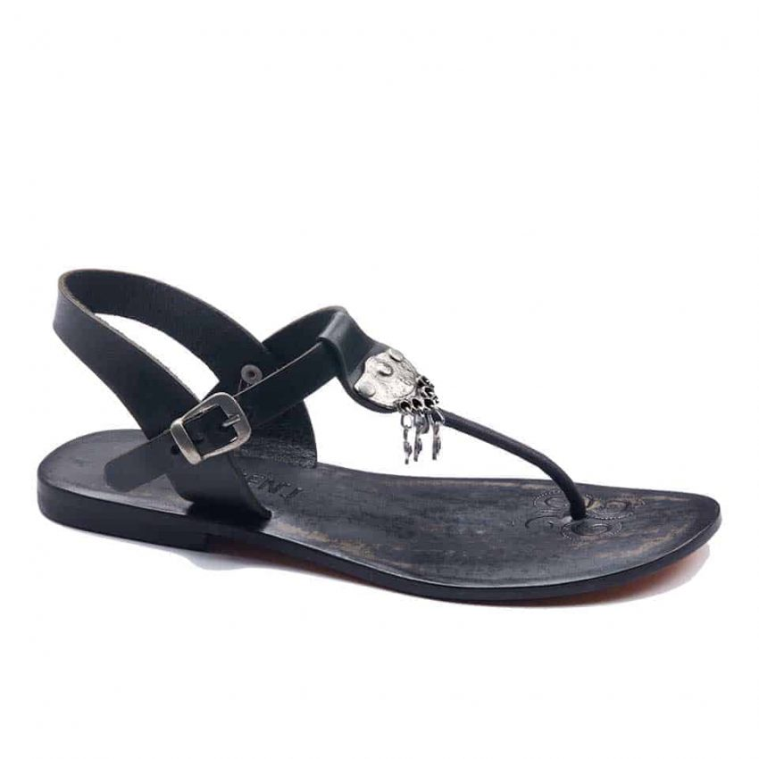 handmade leather womens black sandals 236 2 850x850 - Chic Leather T Strap Thong Sandals For Womens