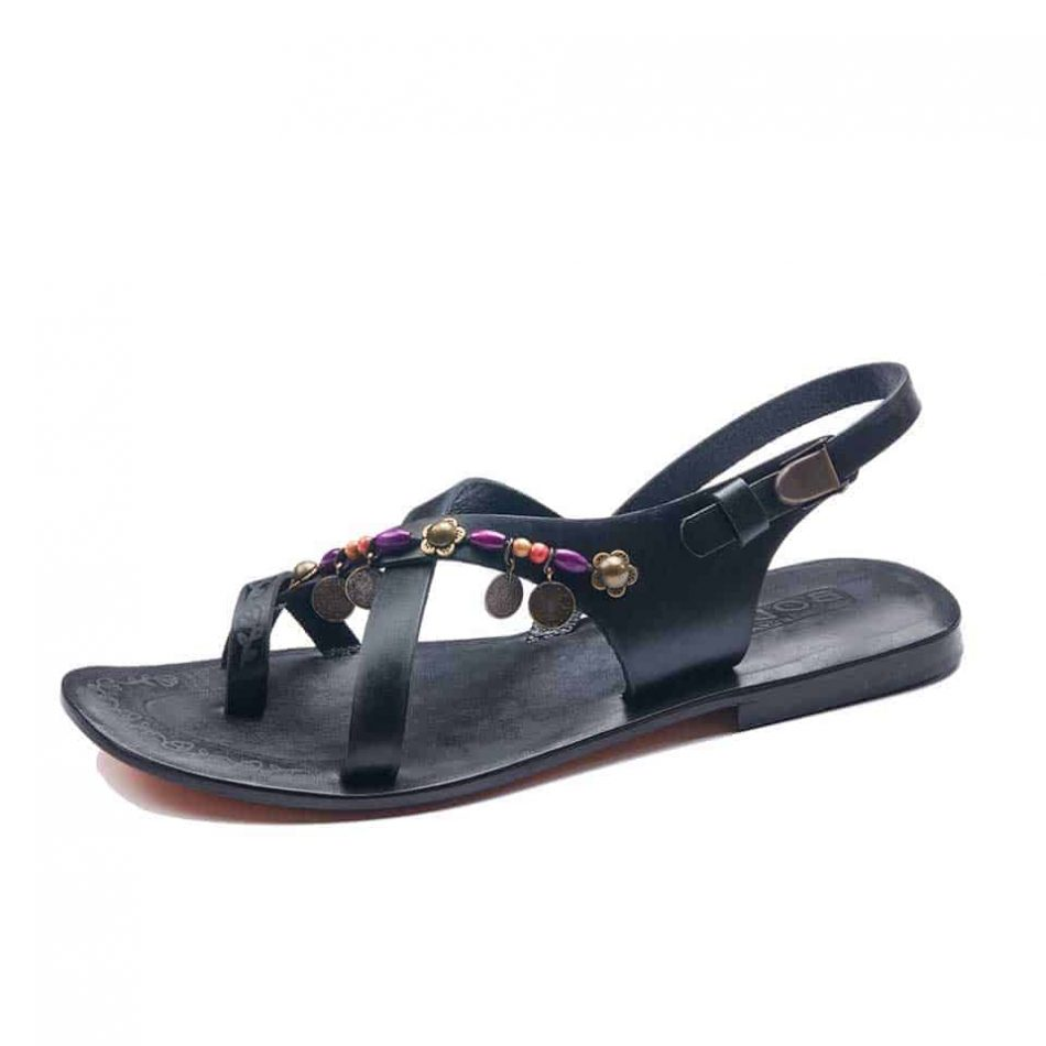 Black Cross Toe Loop Strapy Sandals For Womens