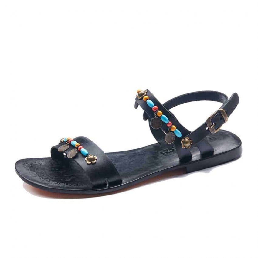 Black Open Toe Ankle Straps Sandals For Womens
