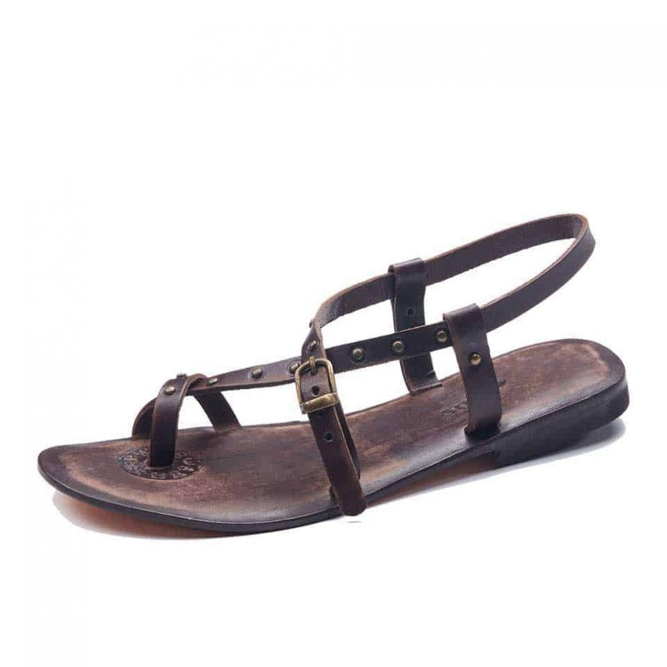 Brown Leather Toe Loop Sandals For Womens