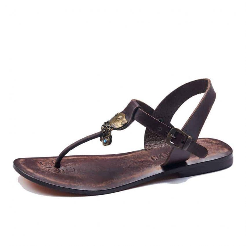 Chic Leather T Strap Thong Sandals For Womens
