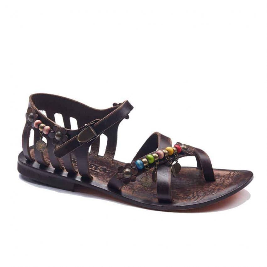 handmade leather womens brown sandals 309 1 850x850 - Handmade Leather Bodrum Sandals Women