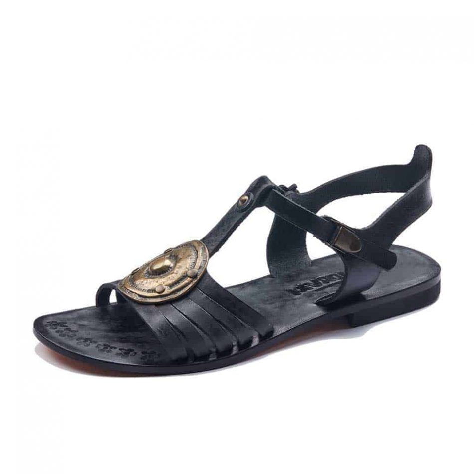 Black Comfortable Leather Sandals For Womens