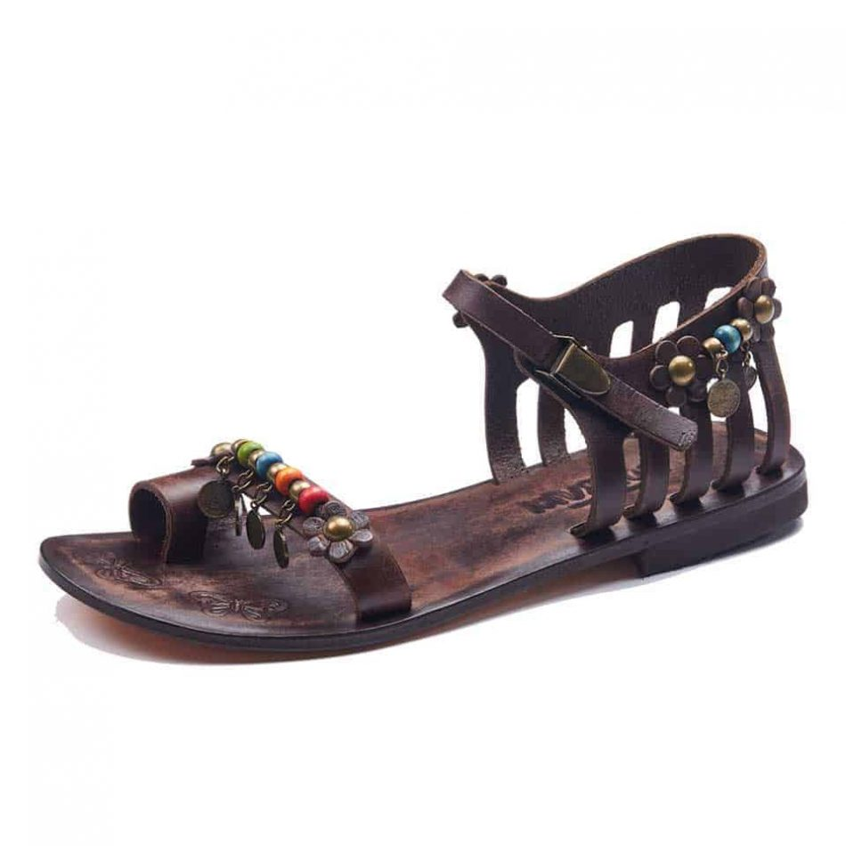 Leather Toe Loop Sandals For Womens