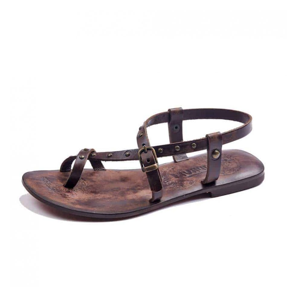 handmade leather womens sandals 608 2 1 950x950 - Strappy Cross Leather Sandals Toe Loop For Womens