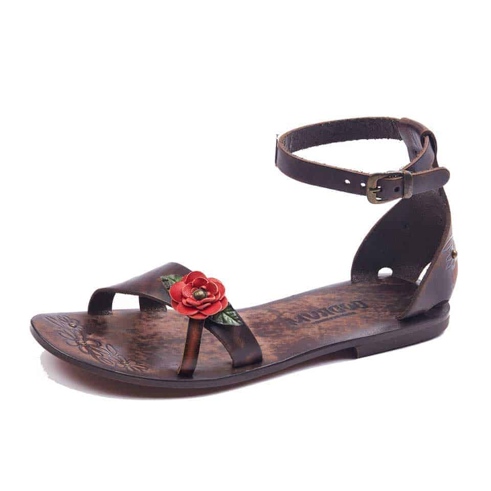 22f67c42aaf9a Womens Leather Ankle Wrap Sandals-Cute Straps For Ladies-Handmade