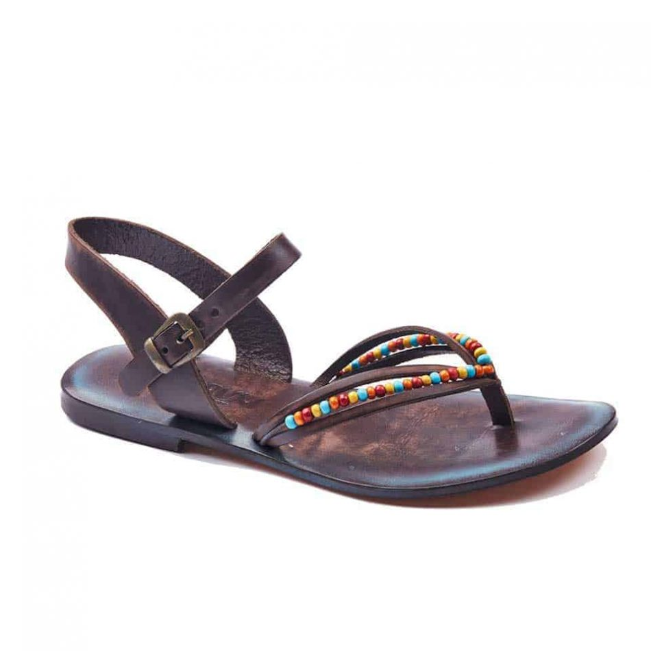 handmade leather womens sandals 645 1 950x950 - Leather Strappy Flip Flop Sandals Flat For Womens