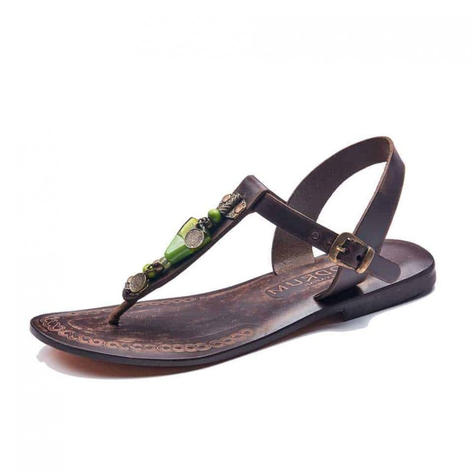 Brown Leather T Strap Thong Flat Sandals