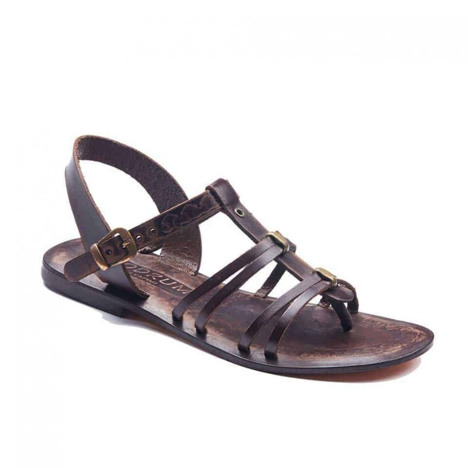handmade leather womens sandals 704 1 950x950 - Dark Brown Leather Strappy Sandals Flat For Womens