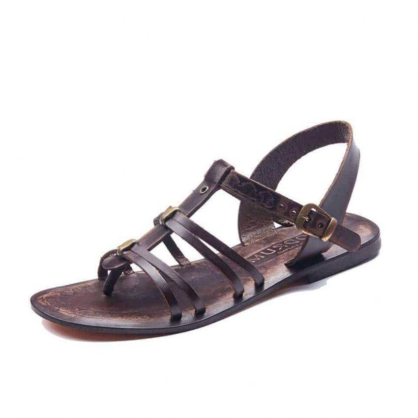 Dark Brown Leather Strappy Sandals Flat For Womens
