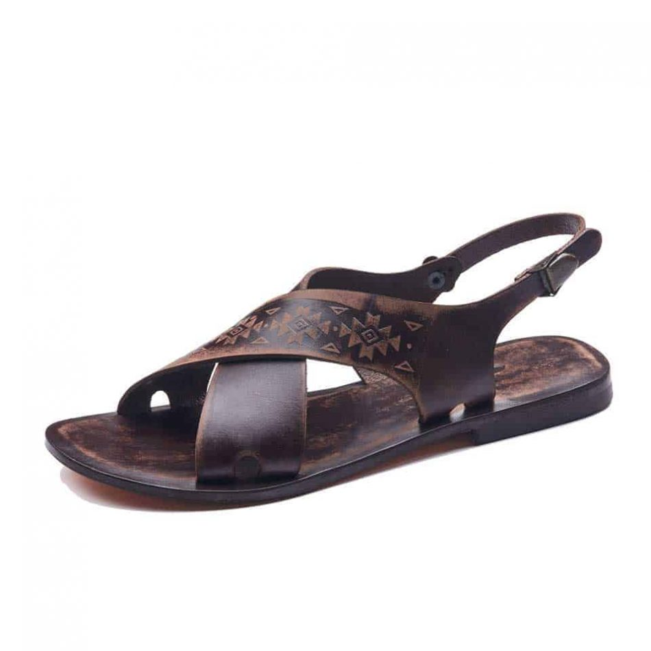 Leather Ankle Straps Slide Sandals For Womens
