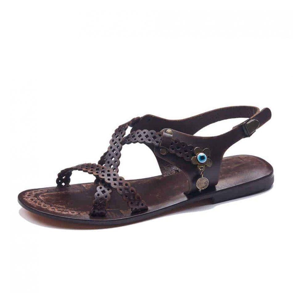 Cross Strap Leather Sandals For Women