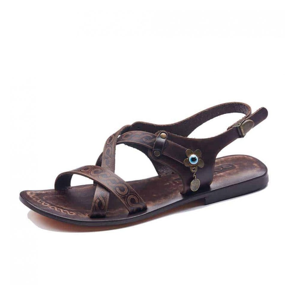 Open Toe Leather Sandals For Womens