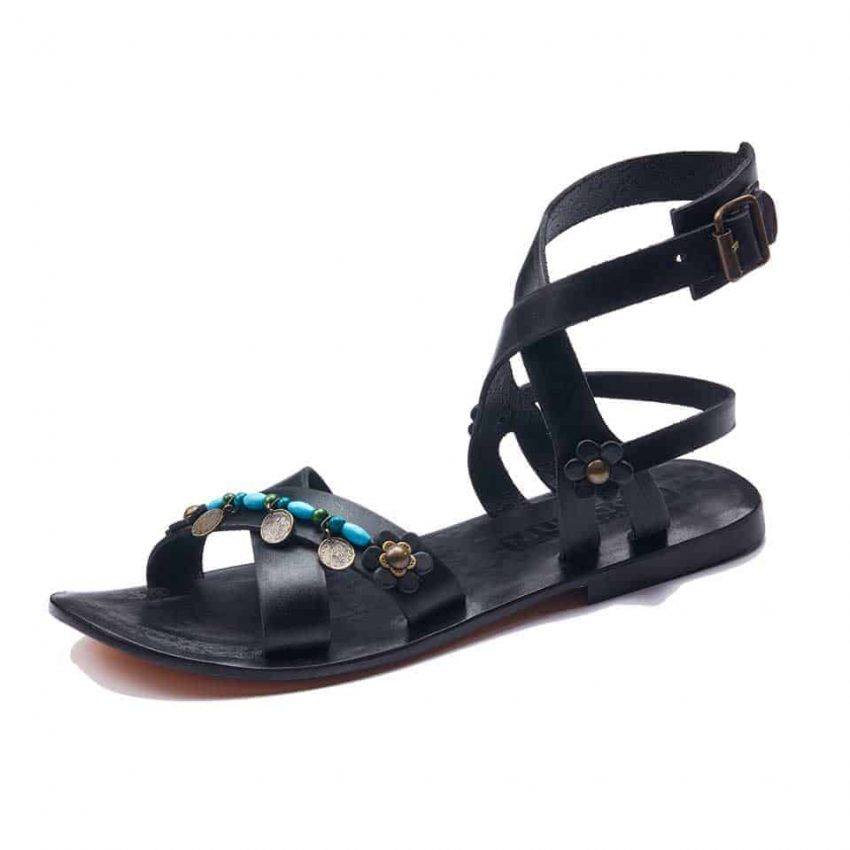 Black Leather Wrap Sandals For Womens