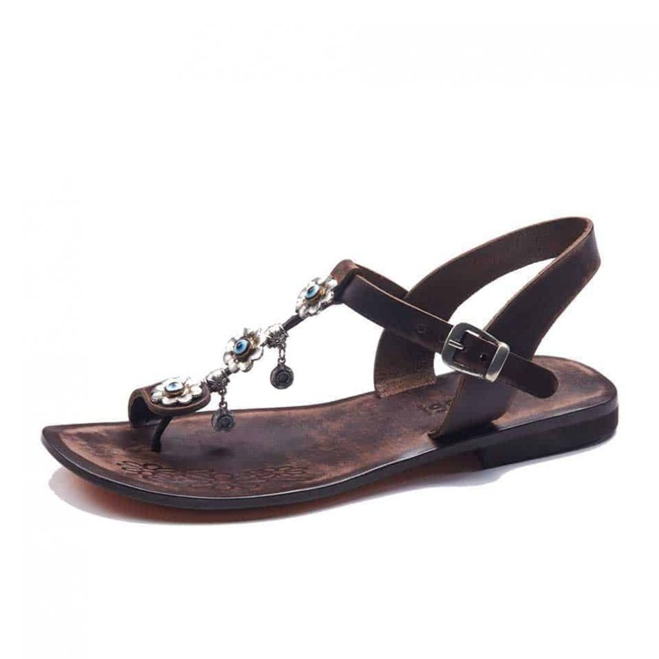 Leather Ankle T Strap Toe Loop Sandals For Womens