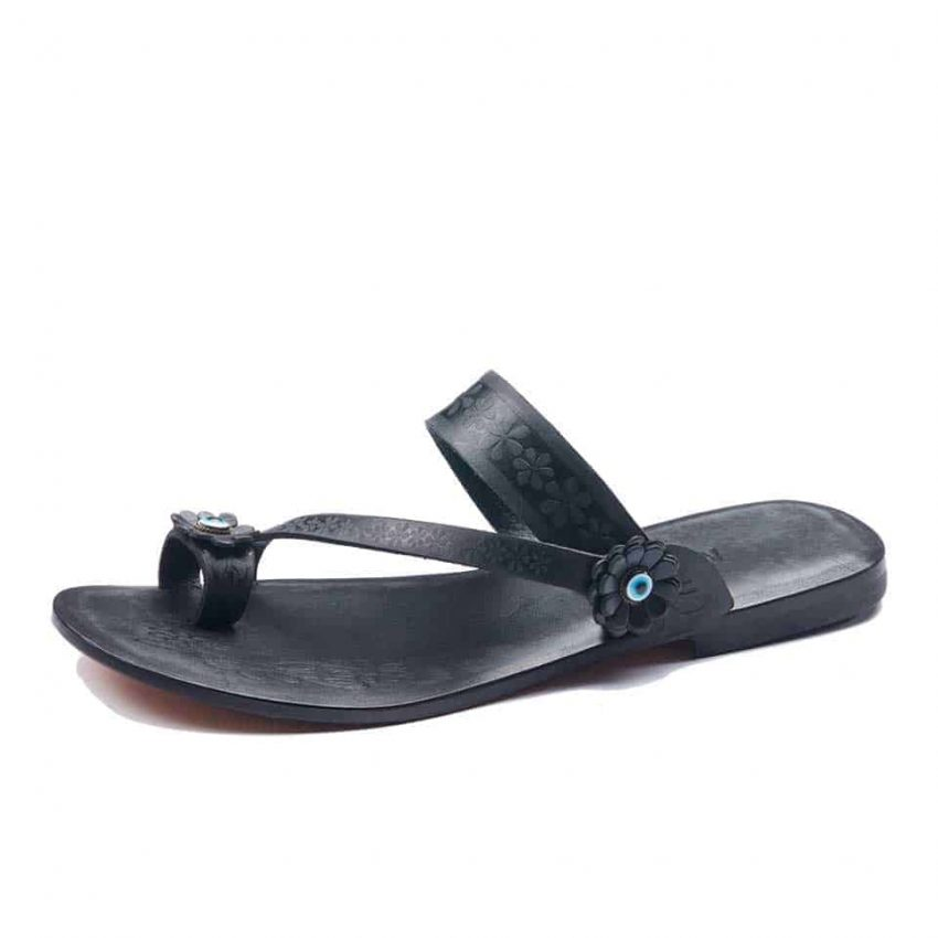 Black Leather Toe Loop Sandals