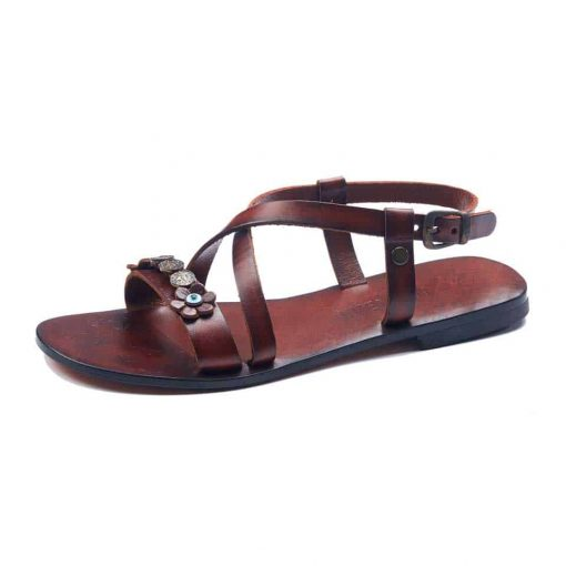 handmade leather womens tan sandals 136 2 510x510 - Handmade Leather Bodrum Sandals Women