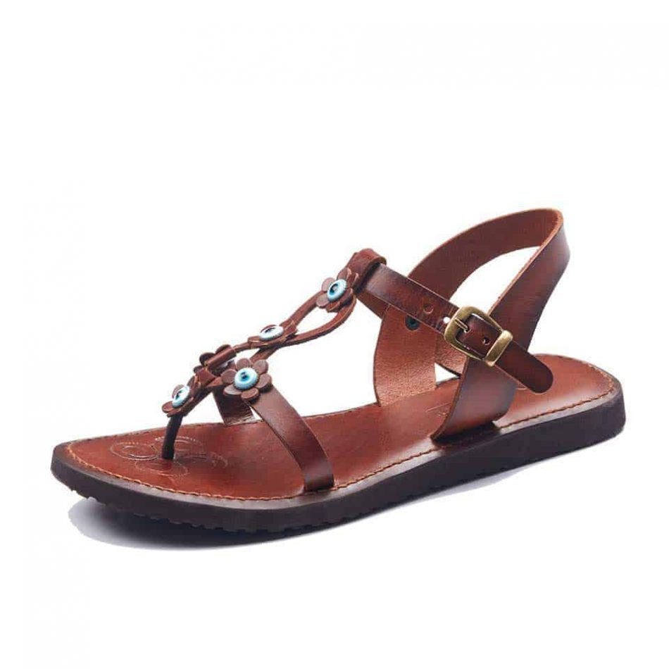 Tan leather Ankle Strap Sandals For Womens