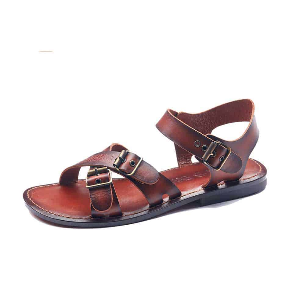 f969e6047bd8 Mens Strappy Leather Sandals Open Toe - Buckle and Genuine Leather.