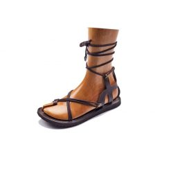 handmade leather strappy brown sandals
