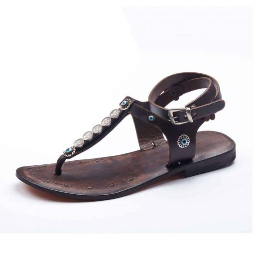 summer leather sandals with cute ankle wrap straps for women and ladies online shopping