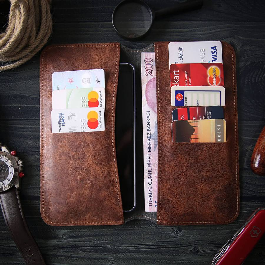 Leather Phone Case Wallet Engrave Customize Personalized Walled 1 - Leather Phone Case Wallet