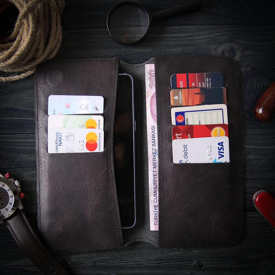 Leather Phone Case Wallet Engrave Customize Personalized Walled 3 - Leather Phone Case Wallet