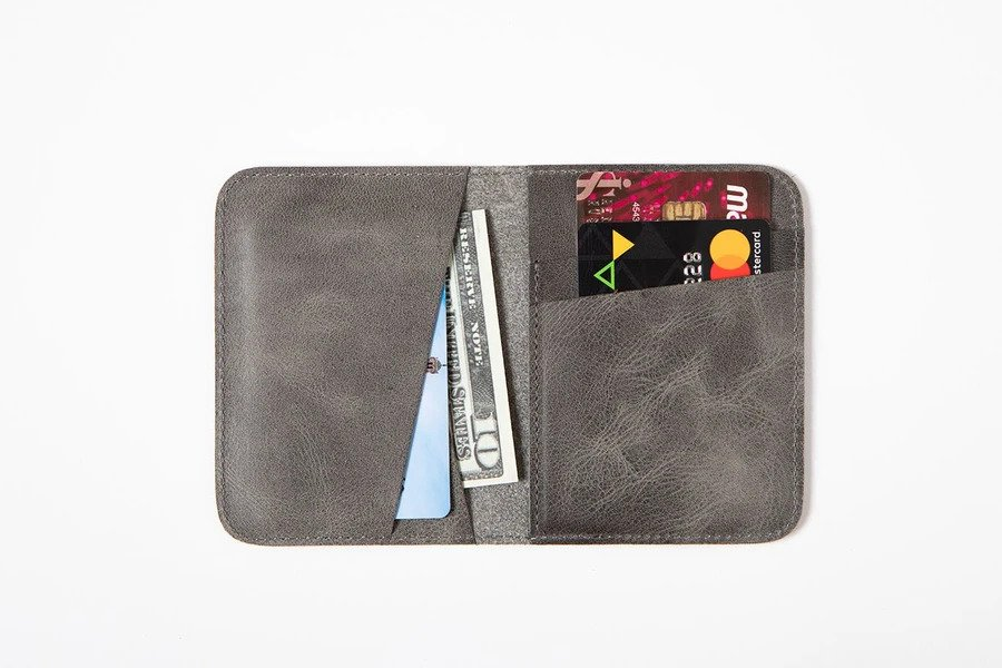 Swiss Wallet Slim and Minimal Mens Leather Wallet Gray 2 - Swiss Wallet - Slim and Minimal Men's Leather Wallet