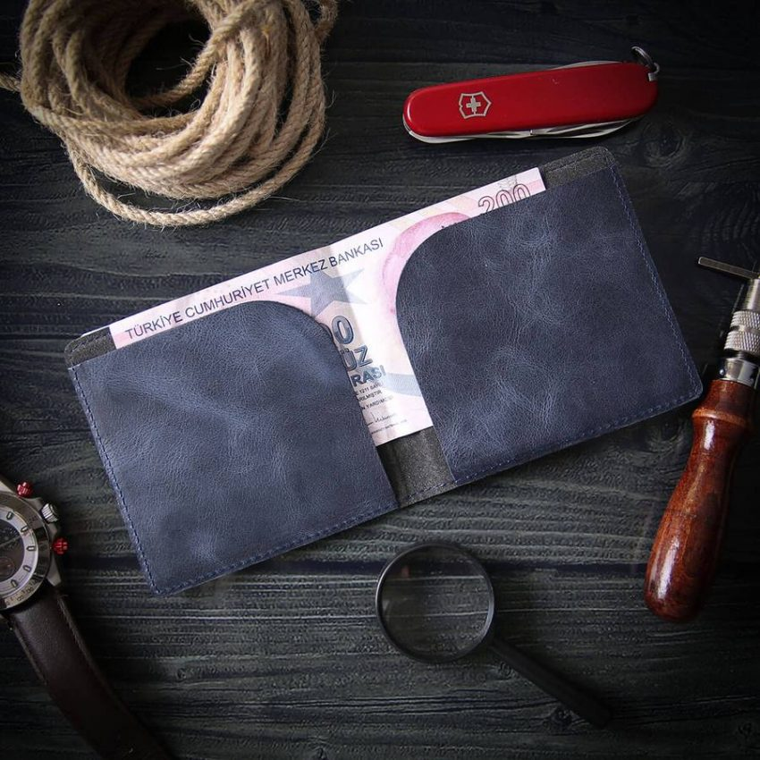 navy blue wallet handmade leather wallets